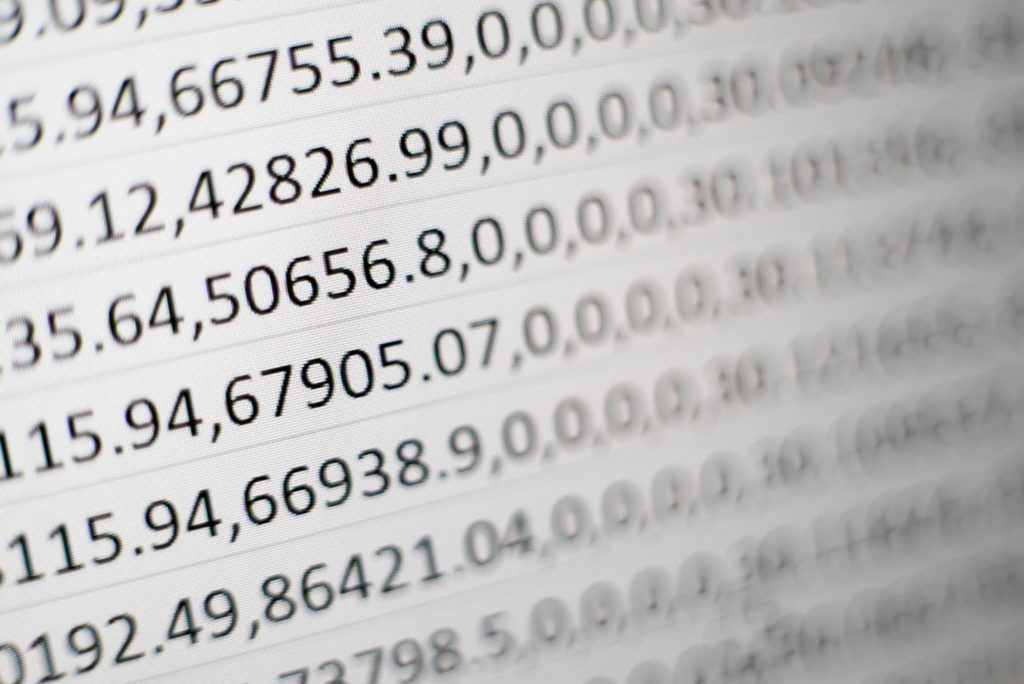 There are a lot go numbers on a paper.
